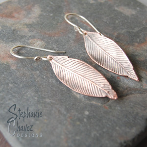 Copper Feather Earrings, Stephanie Chavez Designs