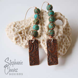 Copper and Turquoise Earrings, Stephanie Chavez Designs