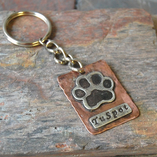 Copper silver paw print keychain stephanie chavez for Fingerprint jewelry by first impressions